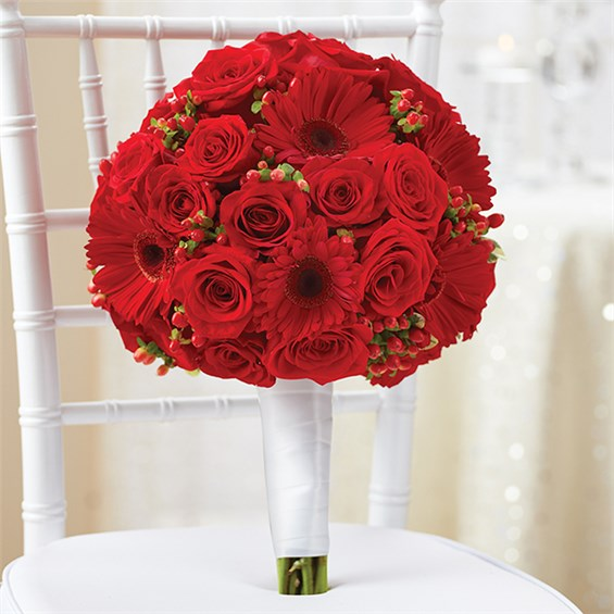 800 FLOWERS ALL RED BRIDAL BOUQUET G And J Florist